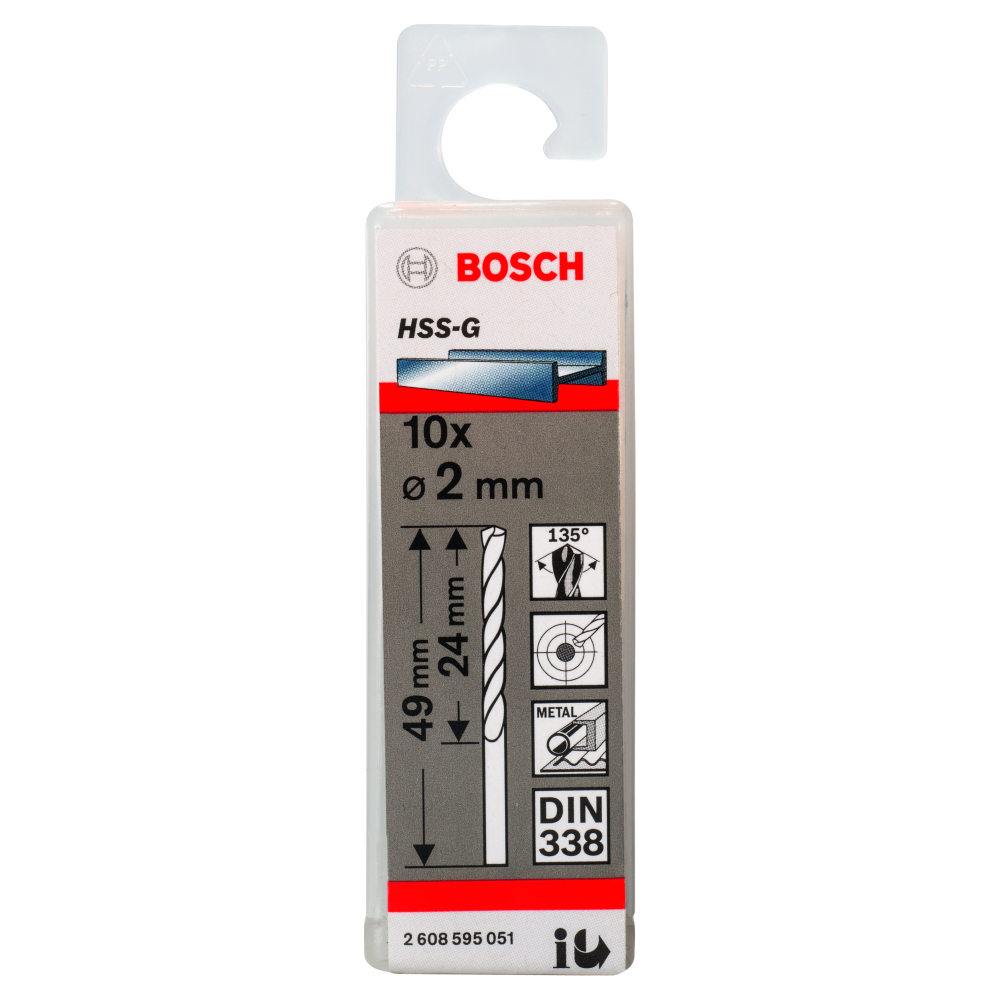 Bosch Metallborr HSS-G S 2,0x49mm 10-pack