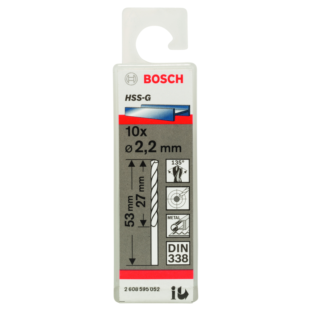 Bosch Metallborr HSS-G 2,2x53mm 10-pack