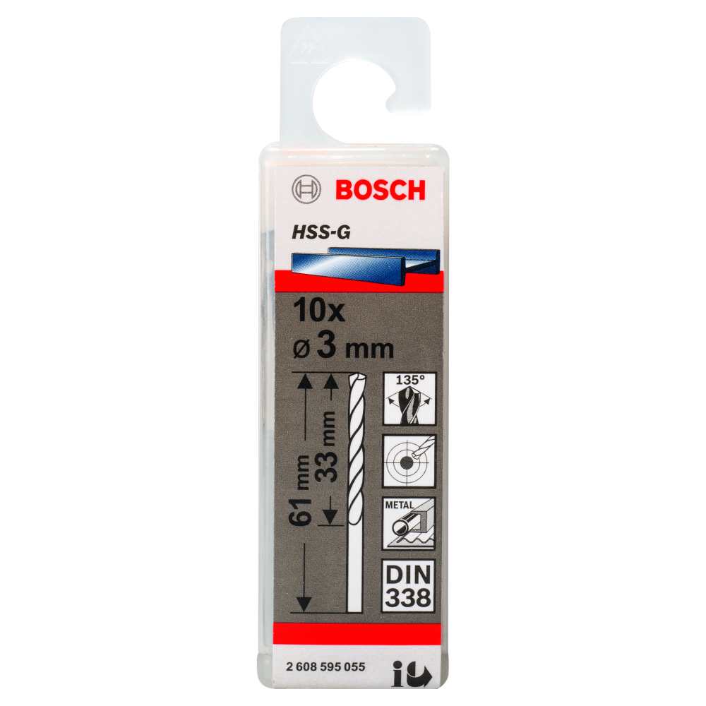 Bosch Metallborr HSS-G S 3,0x61mm 10-pack