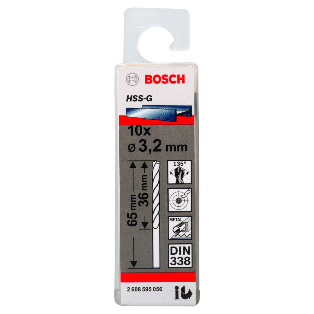 Bosch Metallborr HSS-G 3,2x65mm 10-pack