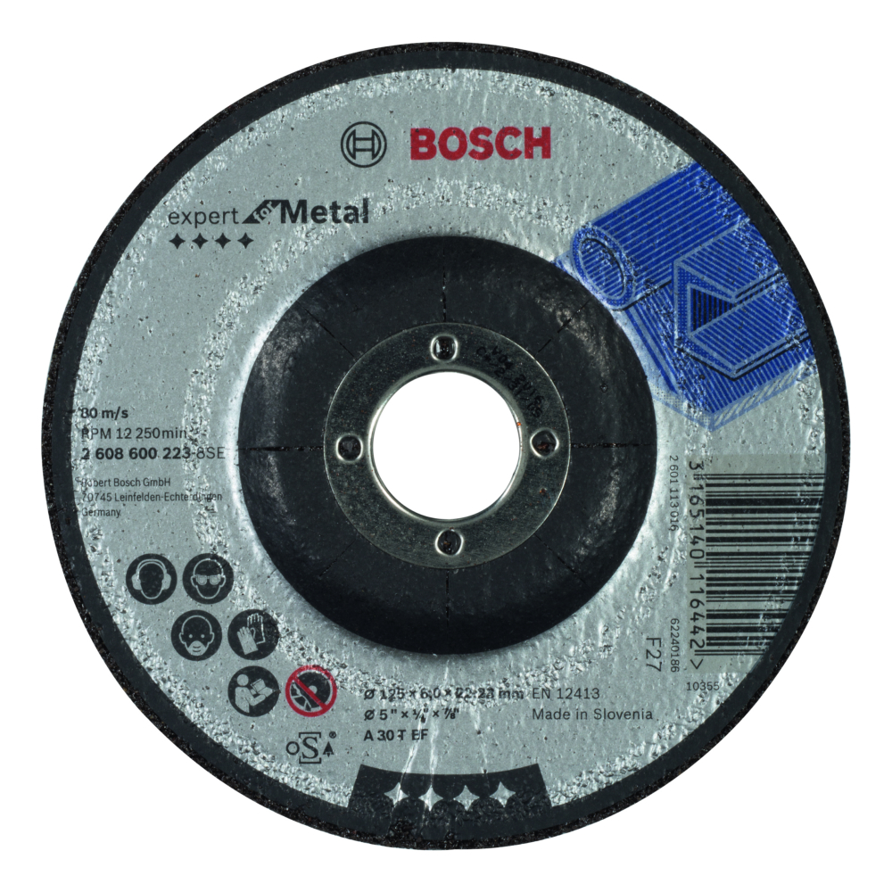 Bosch Expert for Metal Slipskiva Försänkt K30 125x22,23x6mm Metall