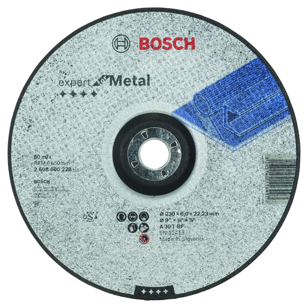 Bosch Expert for Metal Slipskiva Försänkt 230x22,23x6mm Metall