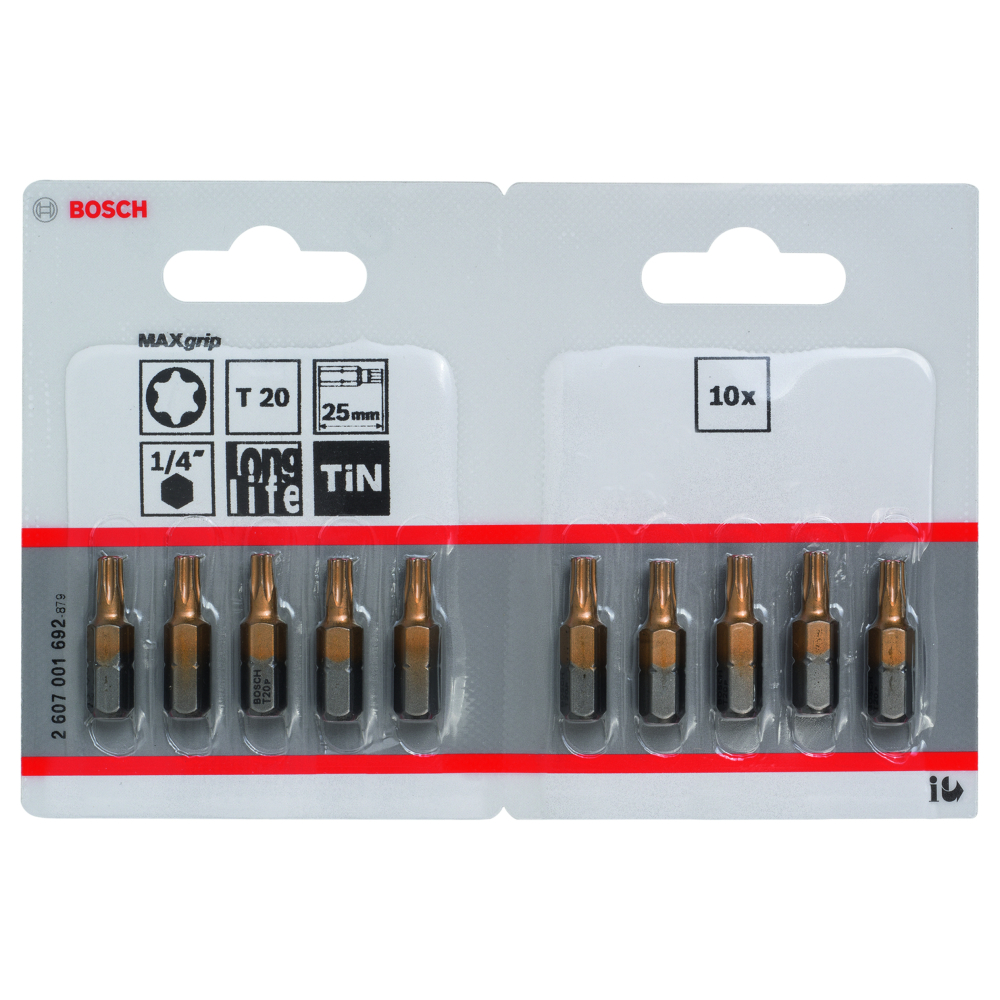 Bosch Bits T20 MAXGRIP 25mm 10-pack