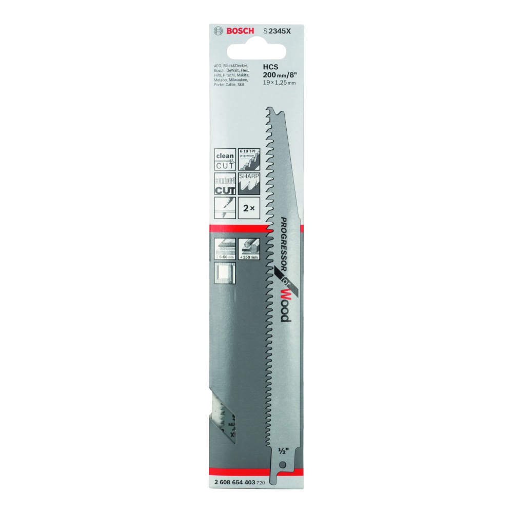 Bosch Progressor for Wood S2345XF Tigersågblad 200mm 2-pack