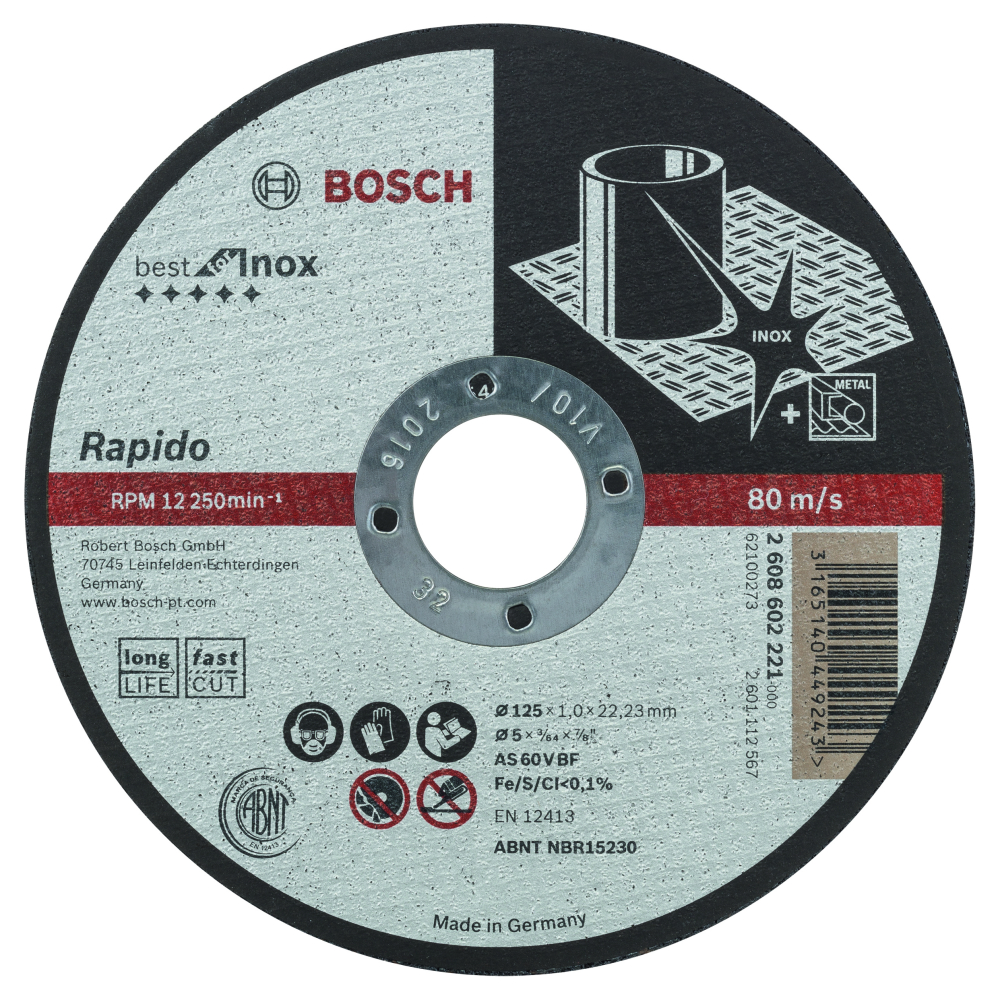 Bosch Best for INOX Rapido Longlife Kapskiva 125x22,23x1,0mm