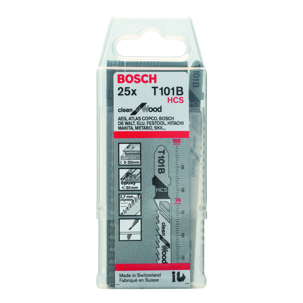Bosch Clean for Wood T101B Sticksågblad 100mm 25-pack