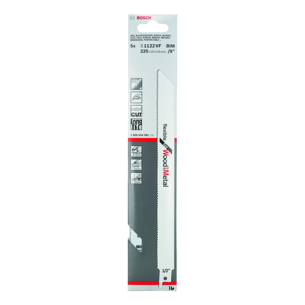 Bosch Flexible for Wood and Metal S1122VF Tigersågblad 225mm 5-pack