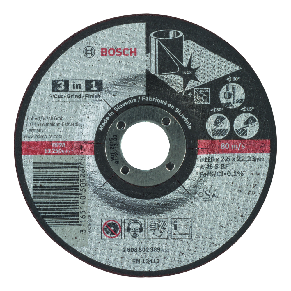 Bosch 3-i-1 Kapskiva 125x2,5x22,23mm Cut Grind Finish