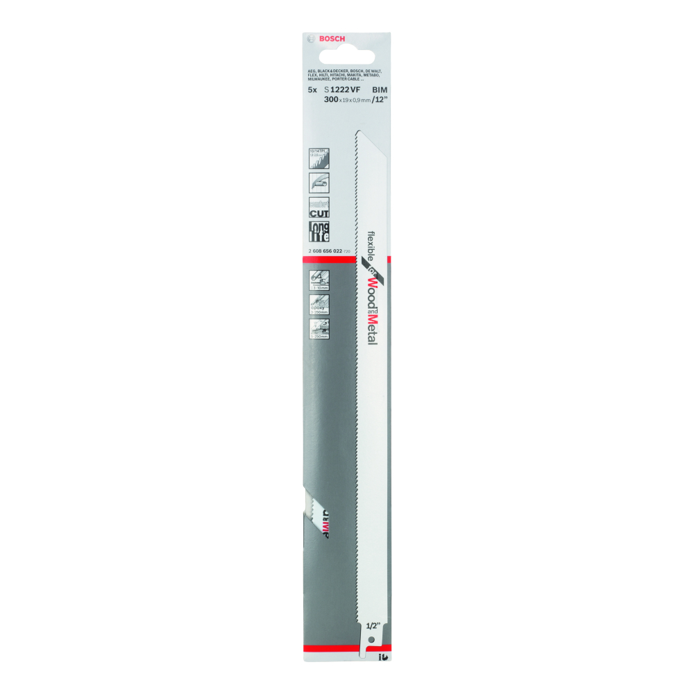 Bosch Flexible for Wood and Metal S1222VF Tigersågblad 300mm 5-pack
