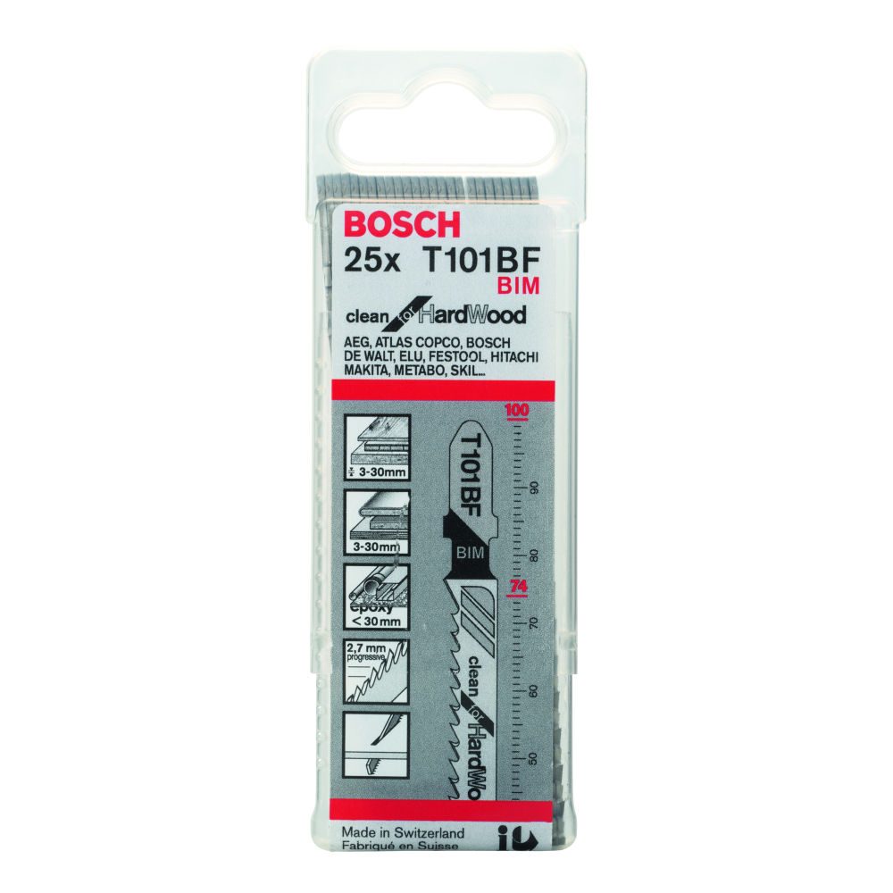 Bosch Clean for Hard Wood T101BF Sticksågblad 100mm 25-pack